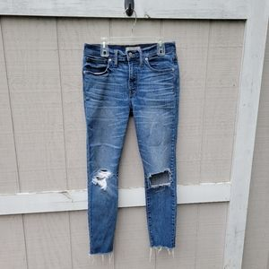 Madewell High Riser Skinny Crop Ripped Blue Jeans